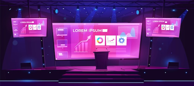 Scene for presentation, conference hall, empty stage interior with huge screen presenting business infographics