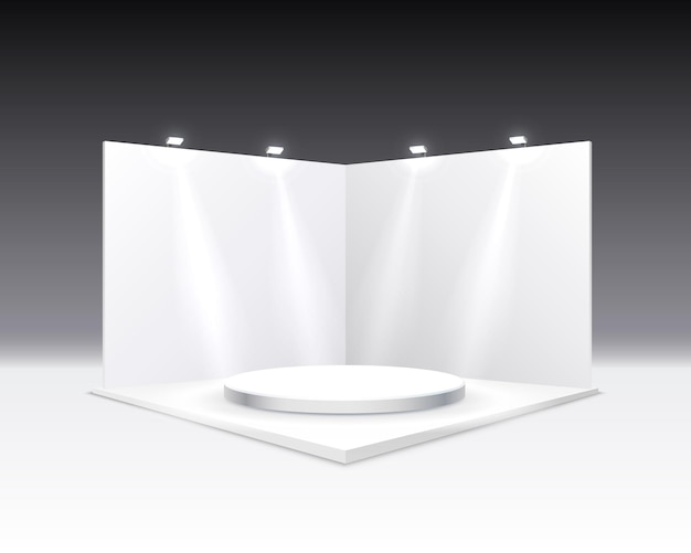 Scene presentations board, table white display.