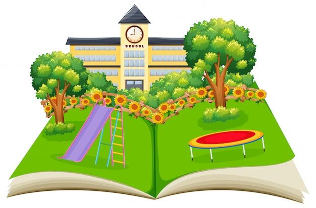 Scene of a school yard pop up book
