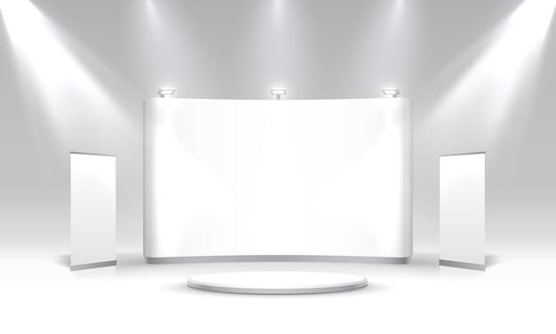 Сюжетный подиум для презентаций на сером фоне. векторная иллюстрация