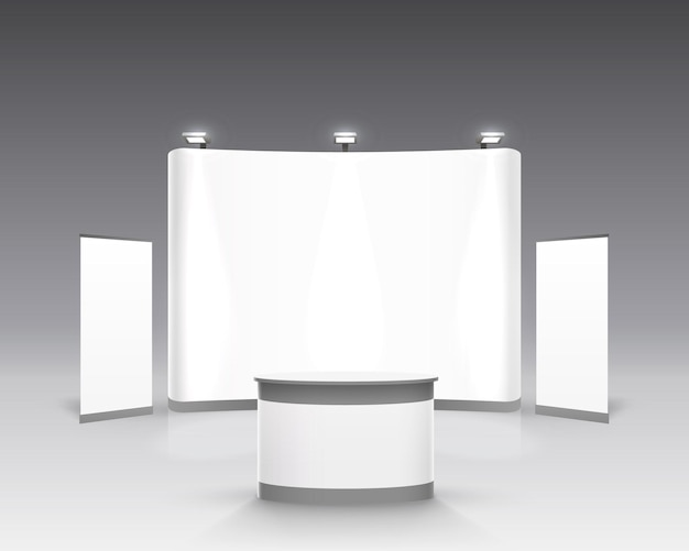 Scene show podium for presentations on the gray background. vector illustration