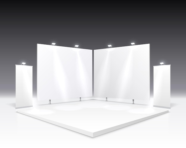 Scene show podium for presentations isolated on gray.