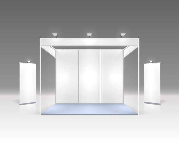 Scene show podium for presentations isolated on grey.