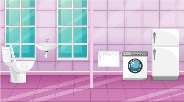 Scene toilet and laundry room with partition