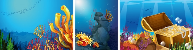 Scene underwater with coral reef background