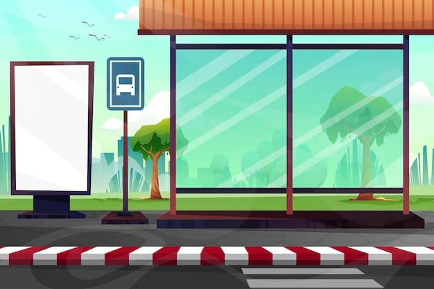 Сцена вертикальный рекламный щит перед автобусной остановкой