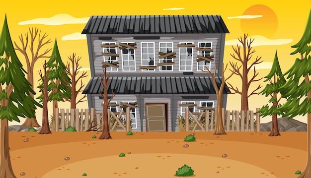 Сцена с заброшенным домом в дневное время
