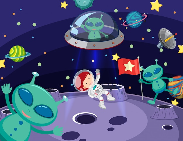 Scene with aliens and astronaut in space