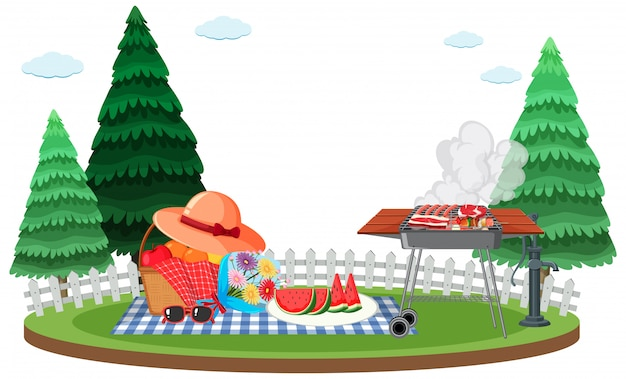 Сцена с барбекю-грилем и корзиной для пикника в саду