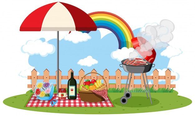 Scene with bbq grill and food in the park