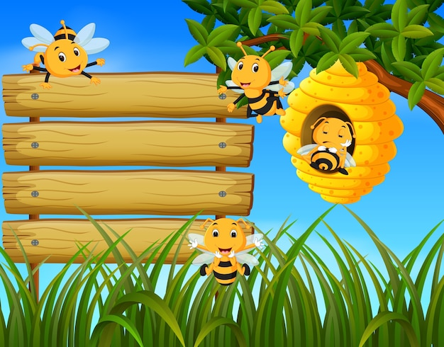 Scene with bees flying around beehive