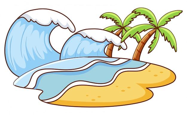 島に大きな波があるシーン