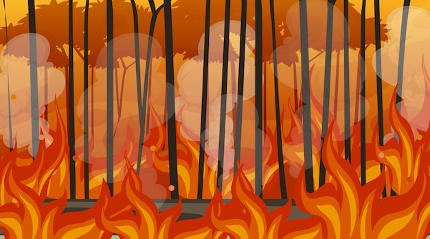 Scene with big wildfire in the forest