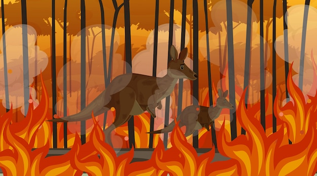 Scene with big wildfire with animal trapped in the forest