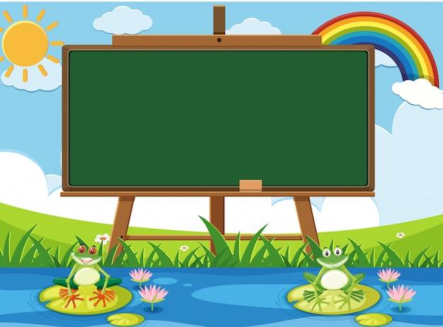 Сцена с пустой знак и две счастливые лягушки в пруду