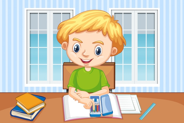 Scena con il ragazzo che fa i compiti a casa