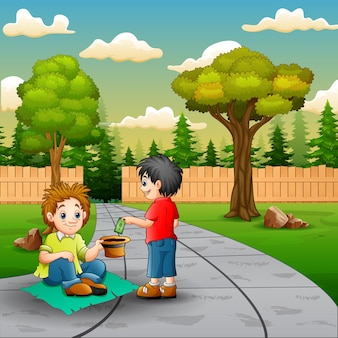 Scene with a boy give money to a beggar
