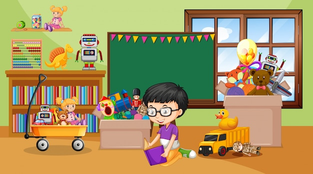 Scene with boy reading book in the room Premium Vector