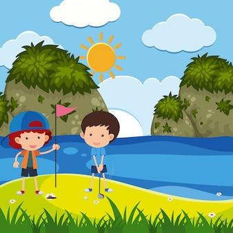 소년 공원에서 골프와 현장