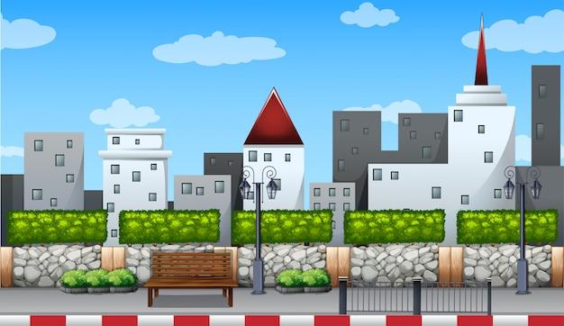 Сцена со зданиями в городе