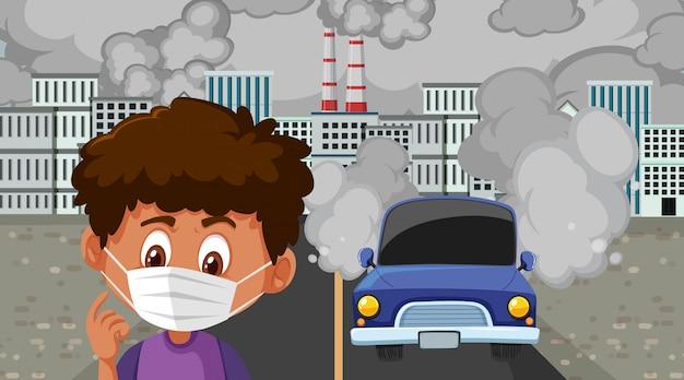 車や工場の建物が街で汚れた煙を作るシーン
