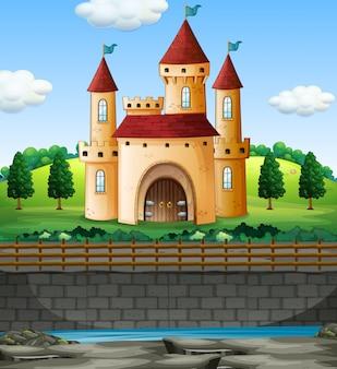 壁に城があるシーン