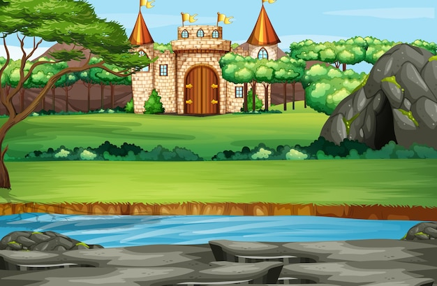 Scene with castle towers in the forest