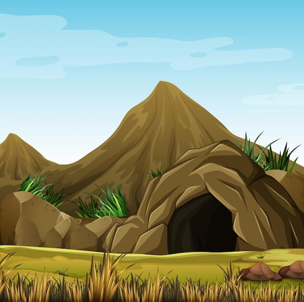 산에서 동굴이있는 장면