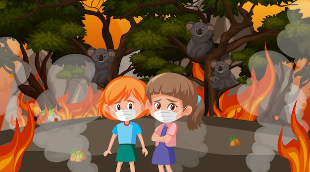 큰 산불에서 아이들과 동물들과 함께하는 장면