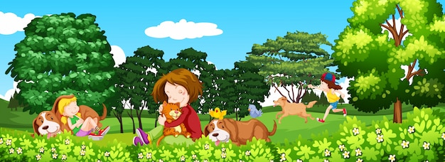 Scene with children and pet in the park
