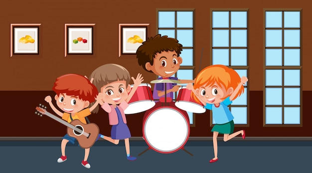 Scene with children playing music in the band