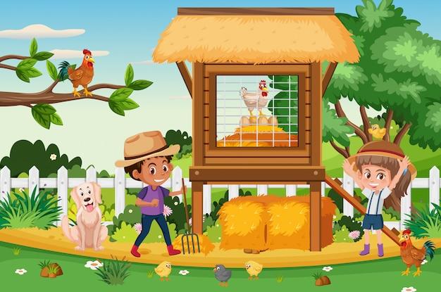 Сцена с детьми, работающими на ферме