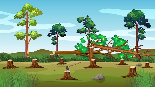 땅에 다진 나무가있는 장면
