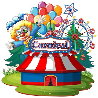 Scene with circus clown in the park on white background