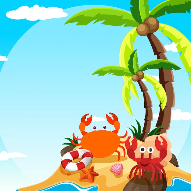 Scene with crab and hermit crab on island