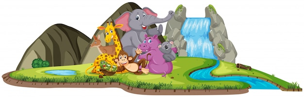 Scene with cute animals by the waterfall