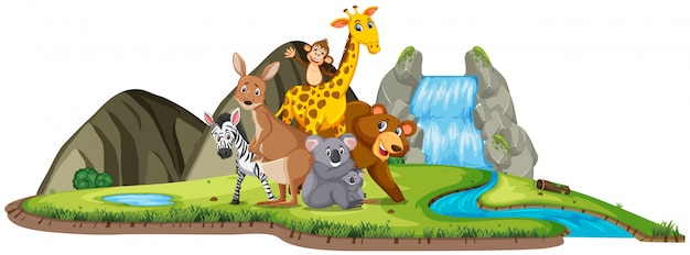 Scene with cute animals standing by the waterfall