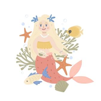 귀여운 인어와 해양 생물이 있는 장면. 의류, 보육원, 카드, 포스터를 위한 유치한 인쇄.