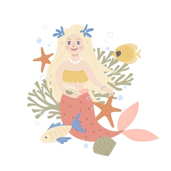 Scene with cute mermaid and marine life. childish print for apparel, nursery, cards, posters.