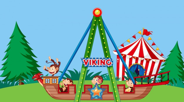 Scene with cute monkeys riding on viking ship in the park