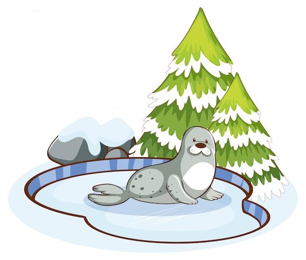 Сцена с милой печатью в снегу