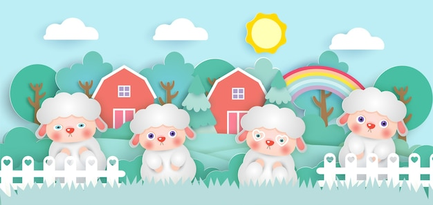 Scene with cute sheeps in a farm  paper cut style.