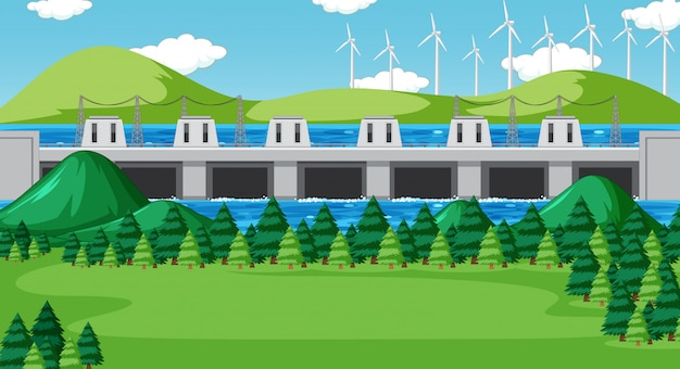 Сцена с плотиной и ветряными турбинами на холмах