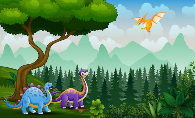 Scene with dinosaurs playing at the jungle