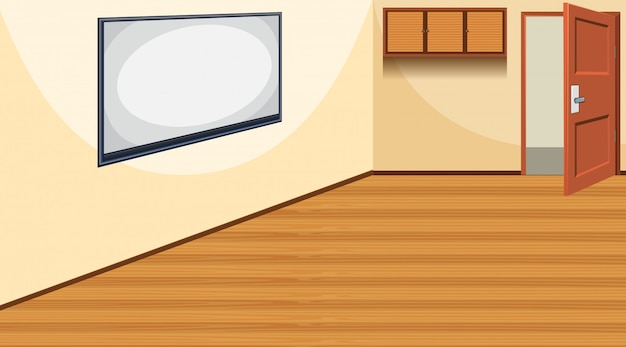 Scene with empty board in the room