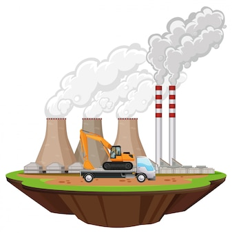 工場の建物と現場の掘削機のシーン