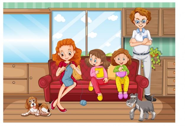집에서 좋은 시간을 보내고 가족과 함께 현장