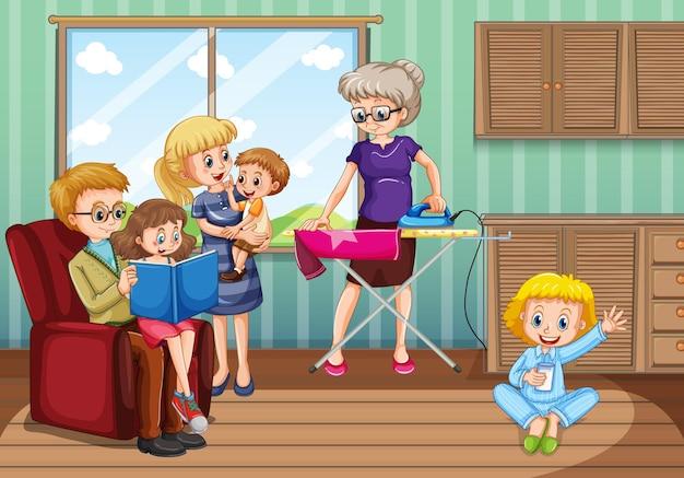 집에서 즐거운 시간을 보내는 가족과 함께하는 장면