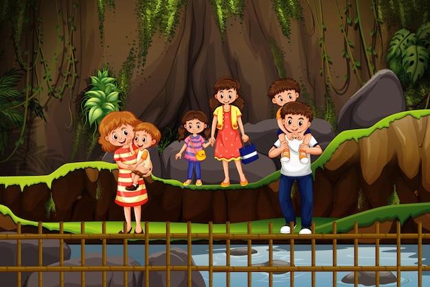 Сцена с семьей в парке Premium векторы
