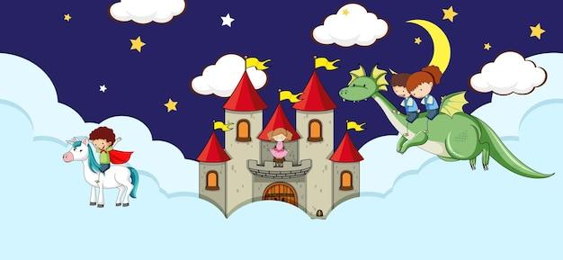 Scena con castello fantasy sulla nuvola di notte